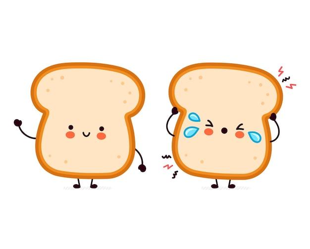 Cute funny happy and sad bread toast character. Premium Vector