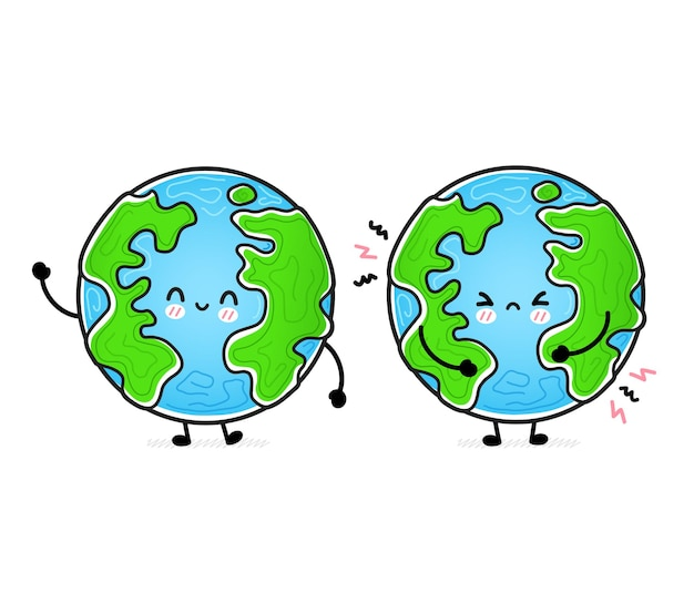 Cute funny happy and sad earth planet.