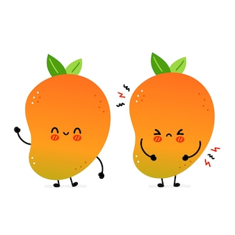 Cute funny happy and sad mango fruit. vector hand drawn cartoon kawaii character illustration icon. isolated on white background. mango exotic baby fruit character concept Premium Vector