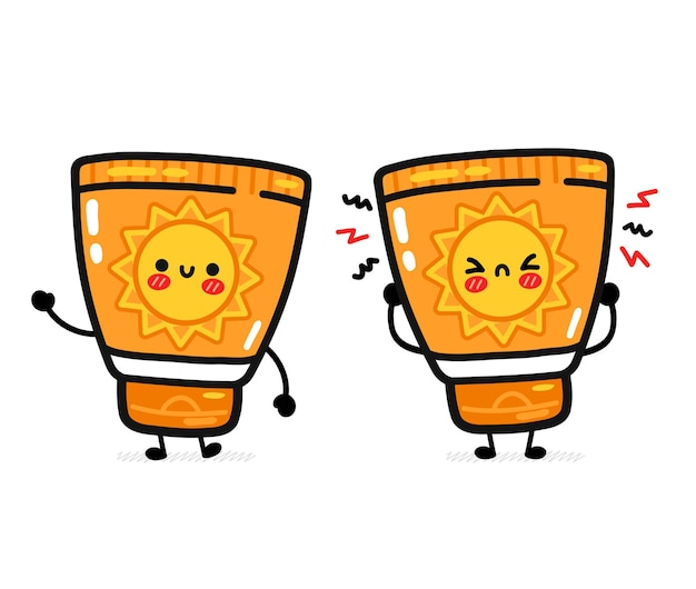 Cute funny happy and sad suncreen tube
