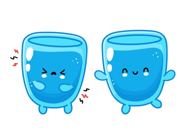 Cute funny happy and sad water glass character