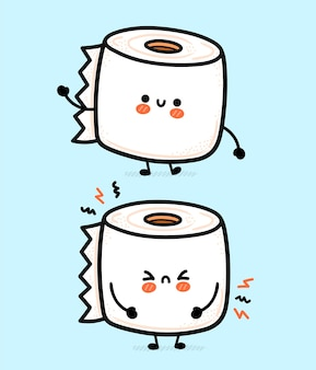 Cute funny happy and sad white toilet paper roll
