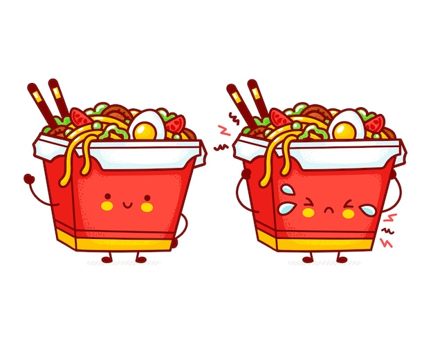 Cute funny happy and sad wok noodle box character