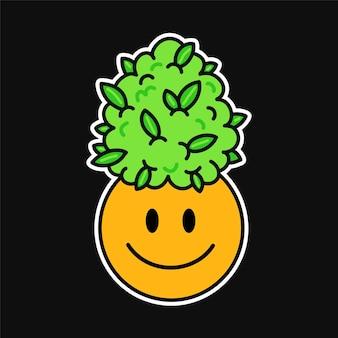 귀엽고 재미있는 행복한 미소 얼굴과 마리화나 대마초 잎. 벡터 귀여운 만화 그림 로고입니다. 귀여운 잡초 마리화나, 잡초, 대마초, 스티커, 티셔츠, 포스터, 패치 개념을 위한 웃는 얼굴