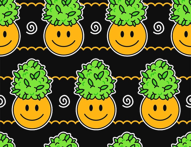 Cute funny happy smile face and weed marijuana leafs buds seamless pattern. vector kawaii cartoon illustration design. cute weed marijuana,weed,cannabis,smile face seamless pattern concept