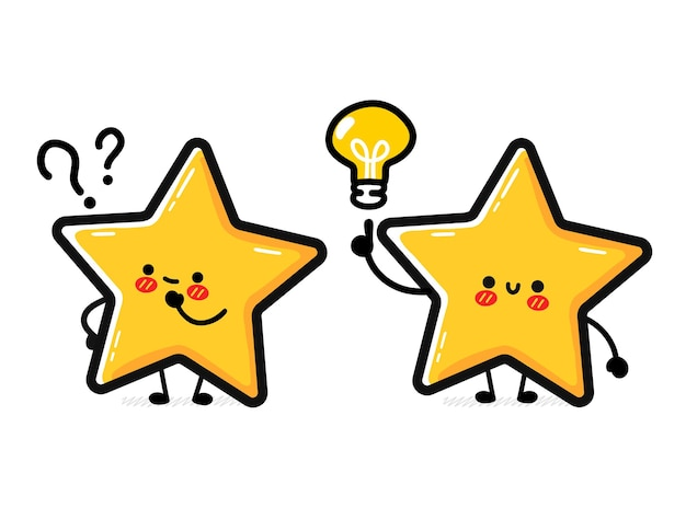 Cute funny happy star sign character with question and idea light bulb