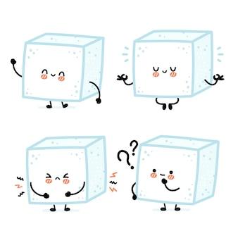 Симпатичная забавная счастливая коллекция наборов символов кубика сахара. концепция набора персонажей сахарного куба