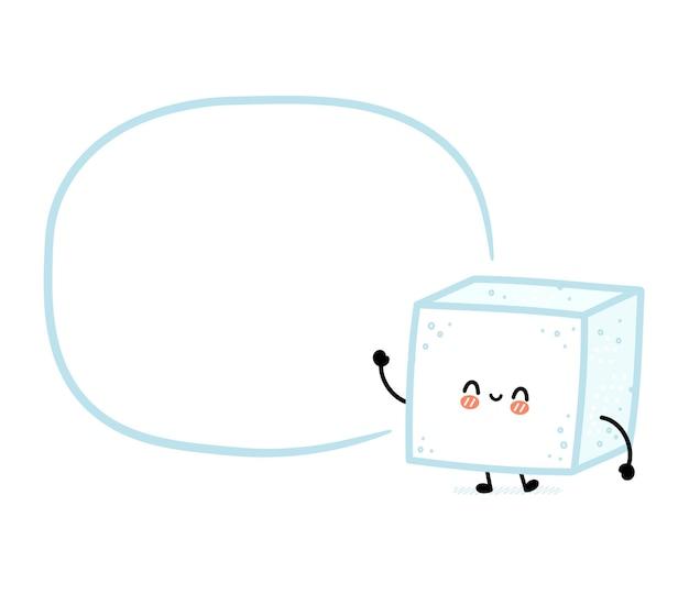 텍스트 상자가 있는 귀엽고 재미있는 행복한 설탕 조각 큐브 캐릭터입니다.