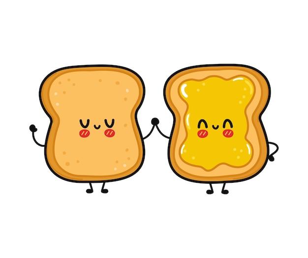 かわいい面白い幸せなトーストと蜂蜜のキャラクターとトースト