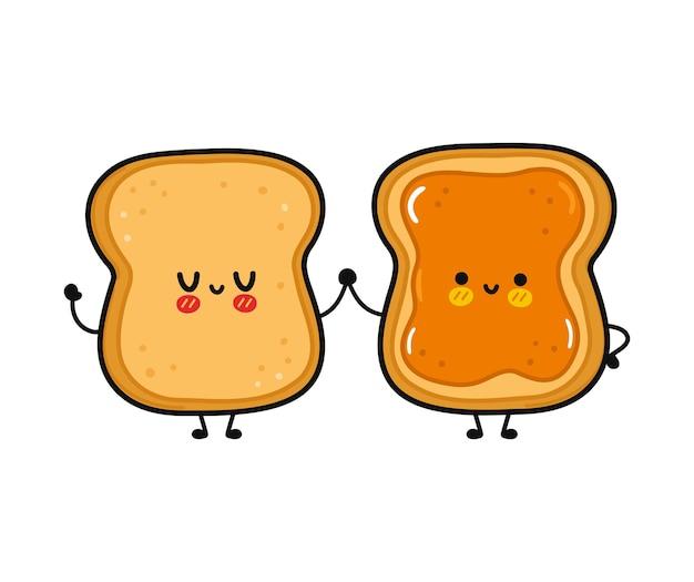 かわいい面白い幸せなトーストとピーナッツバターのキャラクターとトースト