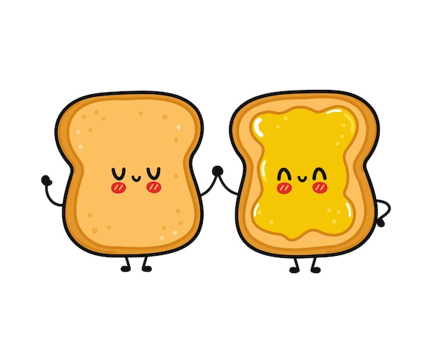 Cute funny happy toast and toast with honey character Premium Vector