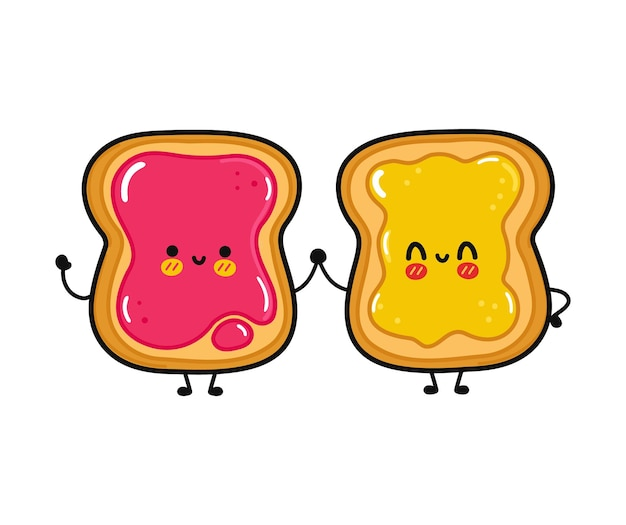 Cute funny happy toast with jam and toast with honey character