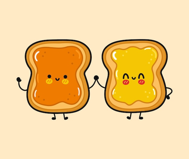 Cute funny happy toast with peanut and toast with honey character
