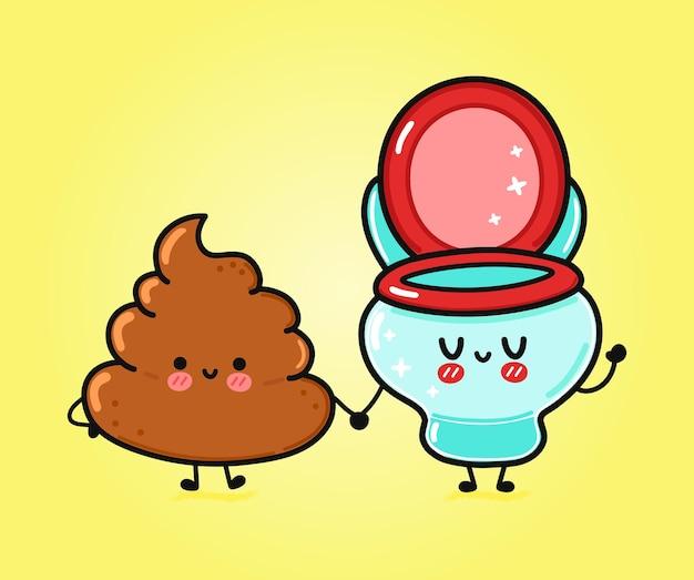 Милый забавный счастливый какашка и туалетный персонаж
