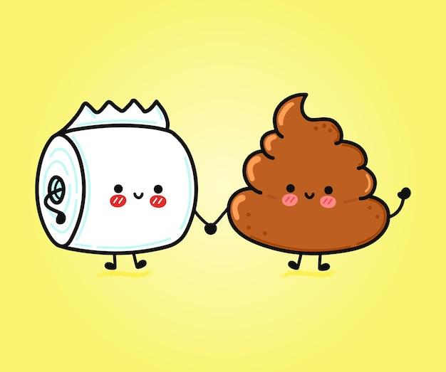 かわいい面白い幸せな糞とトイレットペーパーのキャラクター