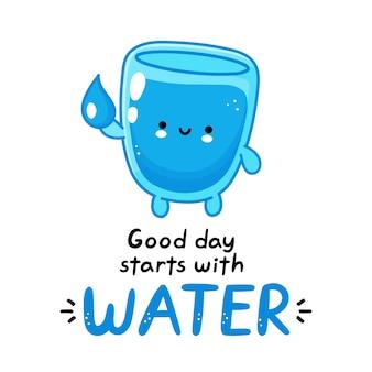 Симпатичный смешной счастливый персонаж из стакана воды держит аква-каплю. добрый день начинается с воды
