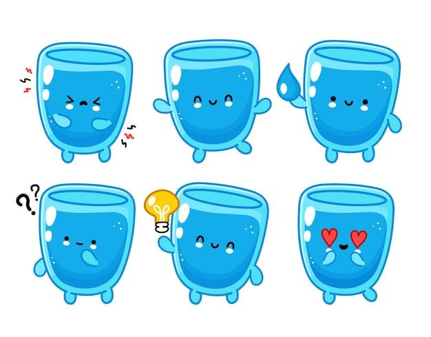 귀여운 재미있는 행복한 물 유리 캐릭터 세트 컬렉션