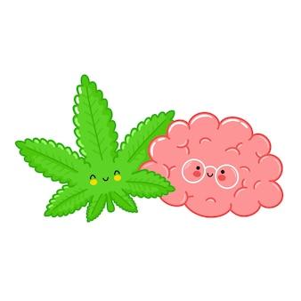 かわいい面白い幸せな雑草マリファナの葉と脳のキャラクター。ベクトルフラットライン漫画かわいいキャラクターイラストアイコン。白い背景で隔離。医療大麻、雑草、脳器官のキャラクターの概念