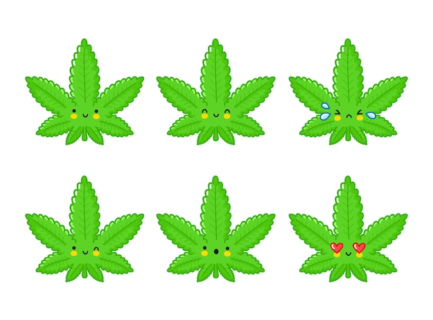 Набор смайликов милый забавный счастливый сорняк листьев марихуаны. плоская линия мультяшныйа каваи значок иллюстрации персонажа. изолированные на белом фоне. медицинский каннабис, травка, концепция смайлика персонажа