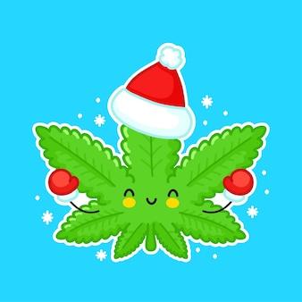 크리스마스 모자에 귀여운 재미 행복 잡초 마리화나 잎 문자. 플랫 라인 만화 귀여운 캐릭터 일러스트 스티커 아이콘. 의료 크리스마스 대마초, 잡초, 마리화나 캐릭터 컨셉