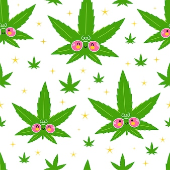 Cute funny happy weed marijuana leafs and stars seamless pattern.