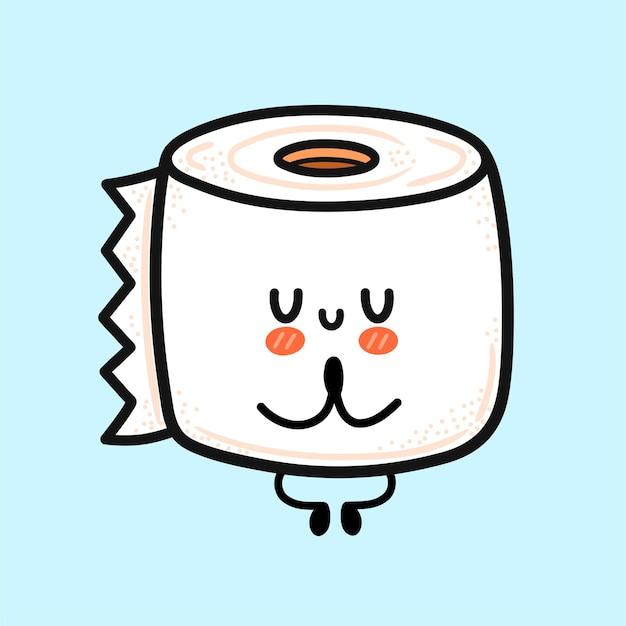 Милый забавный счастливый белый рулон туалетной бумаги медитировать