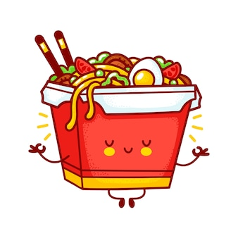 Cute funny happy wok noodle box character meditate. flat line cartoon kawaii character illustration logo icon. isolated on white background. asian food, noodle, wok box character concept