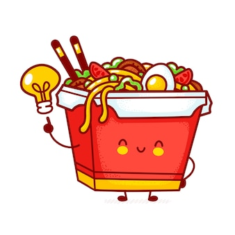 Cute funny happy wok noodle box character with idea light bulb