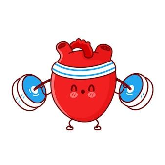 귀여운 재미있는 심장 오르간은 바벨과 함께 체육관을 만듭니다.