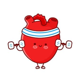귀엽고 재미있는 하트 오르간은 아령으로 체육관을 만듭니다. 벡터 플랫 라인 만화 귀여운 캐릭터 그림 아이콘입니다. 흰색 배경에 고립. 심장 기관 운동 만화 캐릭터 개념 프리미엄 벡터