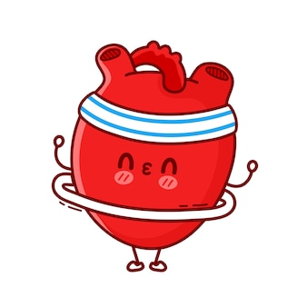 かわいい面白い心臓器官はフラフープでジムを作ります