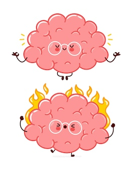 かわいい面白い人間の脳器官は、キャラクターを燃やし、瞑想します。