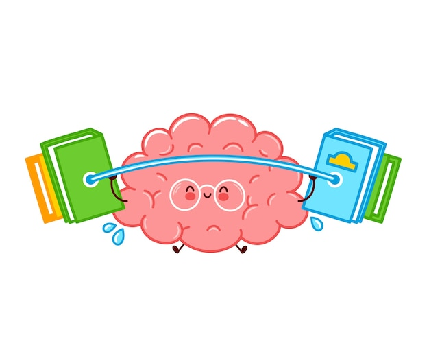 Cute funny human brain organ character hold barbell with books. flat line cartoon kawaii character illustration icon. isolated on white background. brain organ train character concept