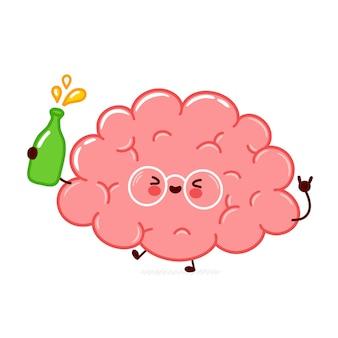 Милый забавный персонаж органа человеческого мозга с бутылкой алкоголя. плоская линия мультяшныйа каваи значок иллюстрации персонажа. изолированные на белом фоне. концепция характера алкоголя напитка органа мозга
