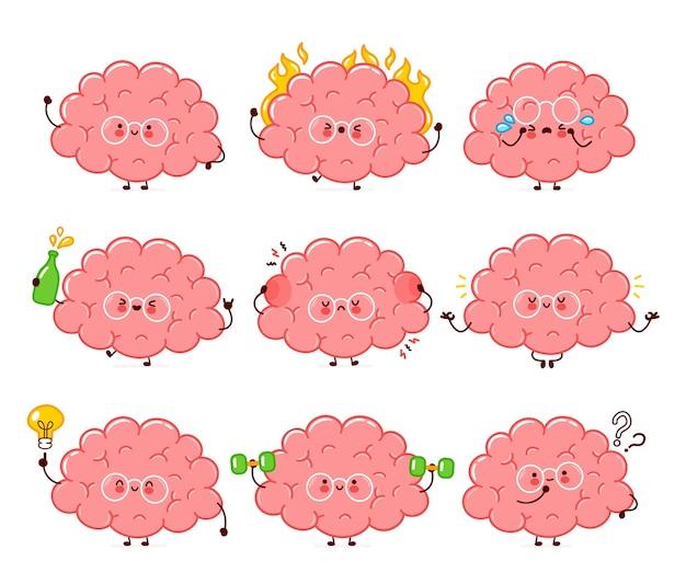 귀여운 재미있는 인간 두뇌 기관 캐릭터