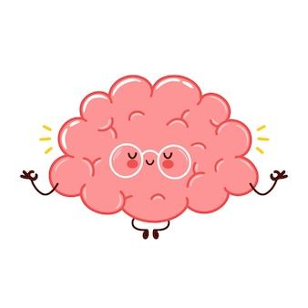 Симпатичный забавный персонаж человеческого мозга медитирует