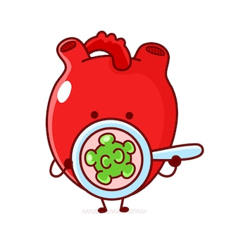 かわいい面白い人間の心臓器官は細菌、ウイルスを見てください。ベクトル落書き漫画カワイイキャラクターイラスト。白い背景で隔離。人間の心臓器官、ウイルス、癌のマスコットキャラクターの概念