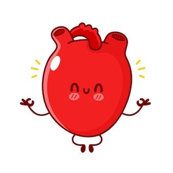 かわいい面白い人間の心臓器官は瞑想します