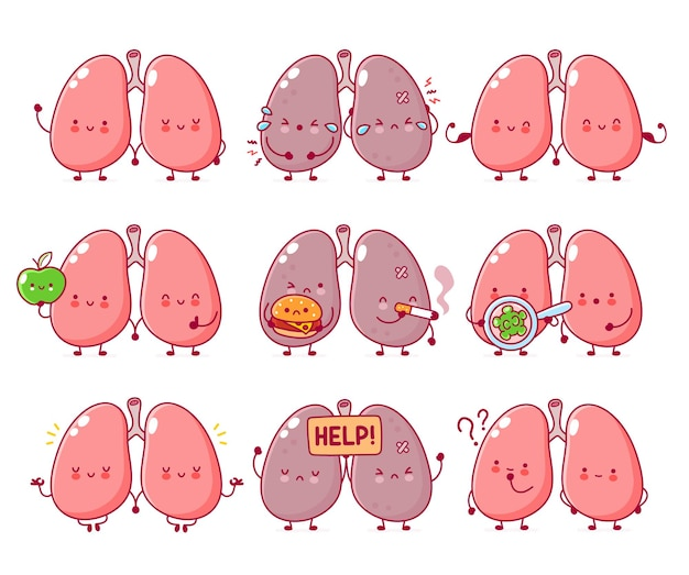 Cute funny human lungs organ character set collection
