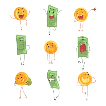 Cute funny humanized banknotes and coins showing different emotions set of colorful characters  illustrations