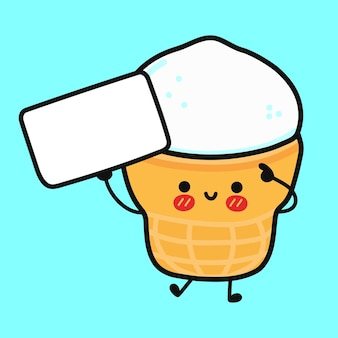 Cute funny ice cream in a waffle cup with poster