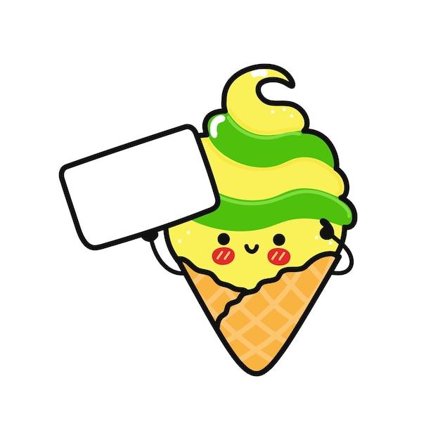 Симпатичное смешное мороженое с плакатом