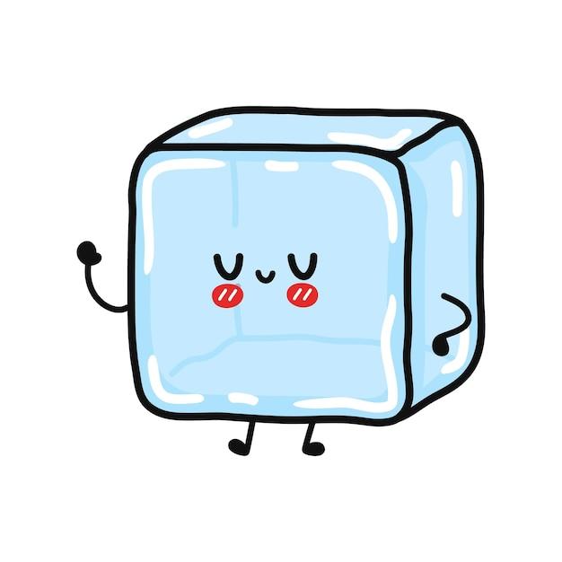 Симпатичный смешной ледяной машет рукой персонаж