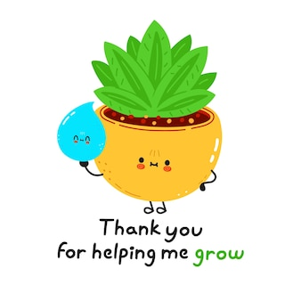 Cute funny indoor plant with drop of water character