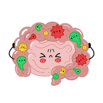 나쁜 박테리아, 미생물이 있는 귀여운 재미있는 장 기관. 벡터 손으로 그린 만화 귀여운 캐릭터 그림입니다. 흰색 배경에 고립. 장, 미생물총, 프로바이오틱스 캐릭터 컨셉