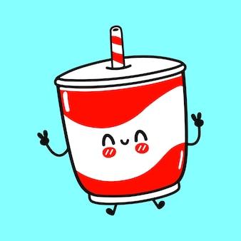 かわいい面白いジャンプ冷たい飲み物のキャラクター