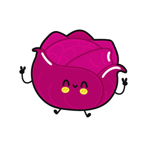 Cute funny jumping red cabbage character