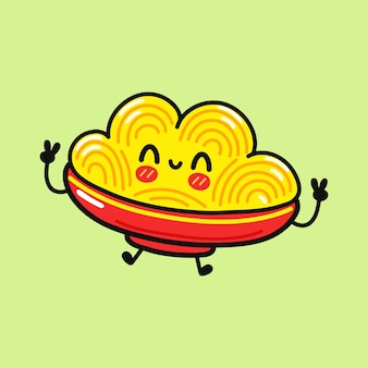 Cute funny jumping spaghetti character