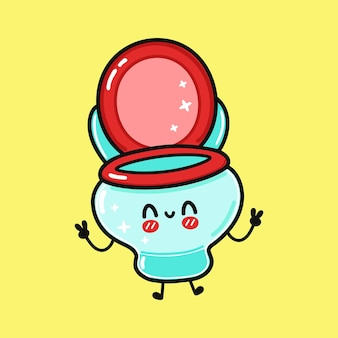 Cute funny jumping toilet character