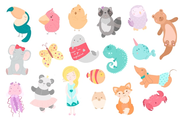 Cute funny kawaii animals.